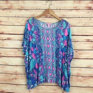 Lilly Pulitzer Tops - Lilly Pulitzer Cooper Caftan Top Sea Jewels S/M